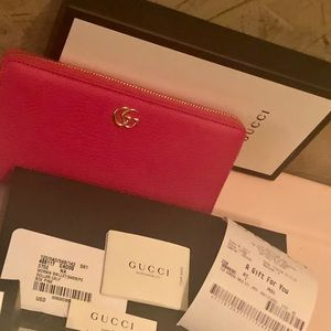 Gucci Bags - NWT/GUCCI/GG Marmont Pink Leather ZipAround Wallet